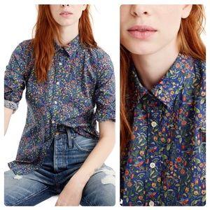 J. Crew LIBERTY Art Catesby Print Perfect Shirt